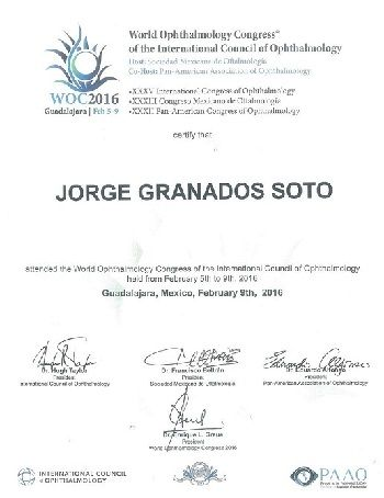 Certificado World Ophthalmology